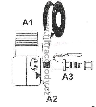 """Připojovací fitink 3/8"""" vnější x 1/4"""" boční x 3/8"""" vnitřní - 2"""